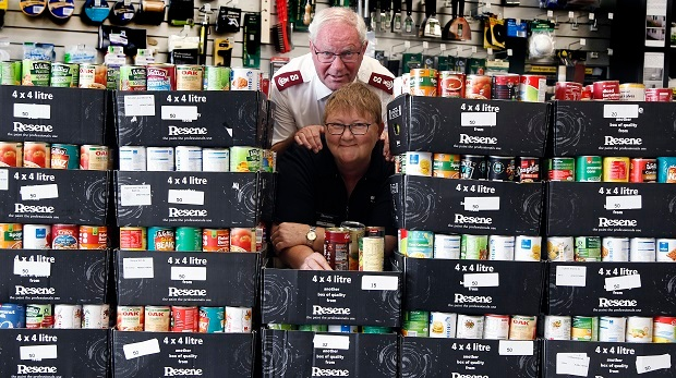 More than 1200 cans of food donated in Whanganui for Resene Hunger for Colour campaign to help Salvation Army