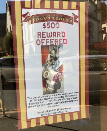 Reward offered to anyone with information on missing clown from Mt Eden cafe