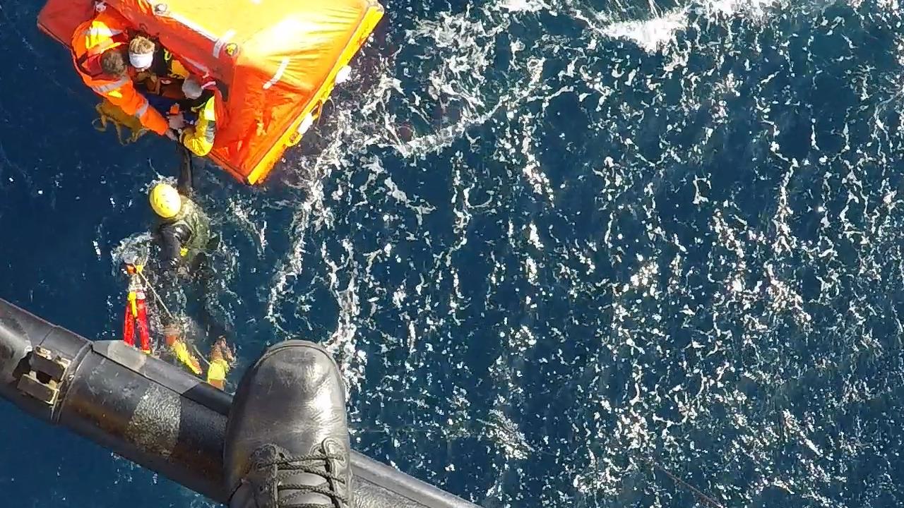 Dramatic ocean rescue: Watch as yacht's stricken crew