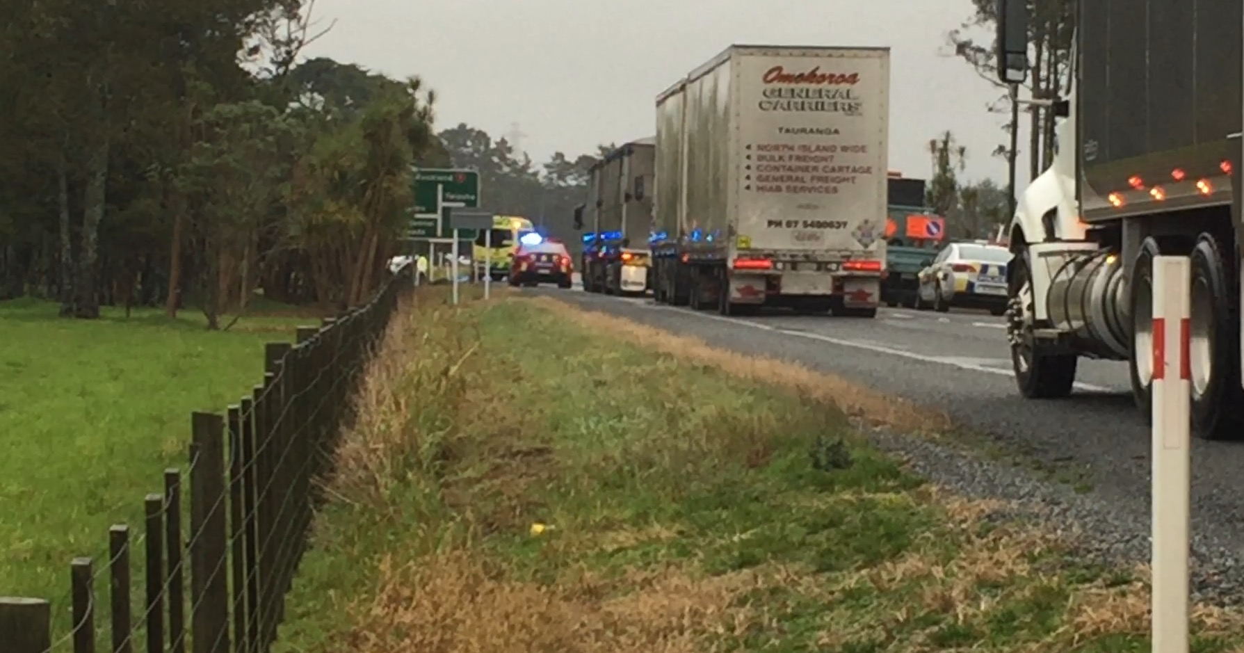 Fatal crash involving truck and car on State Highway 1 south of Whangārei