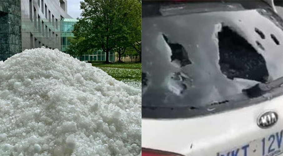 Hail 'punctured roof like bullets': Intense storm hits Canberra
