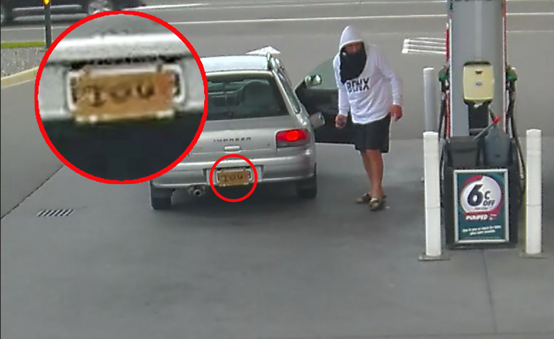 Man's cheeky number plate jibe while stealing petrol