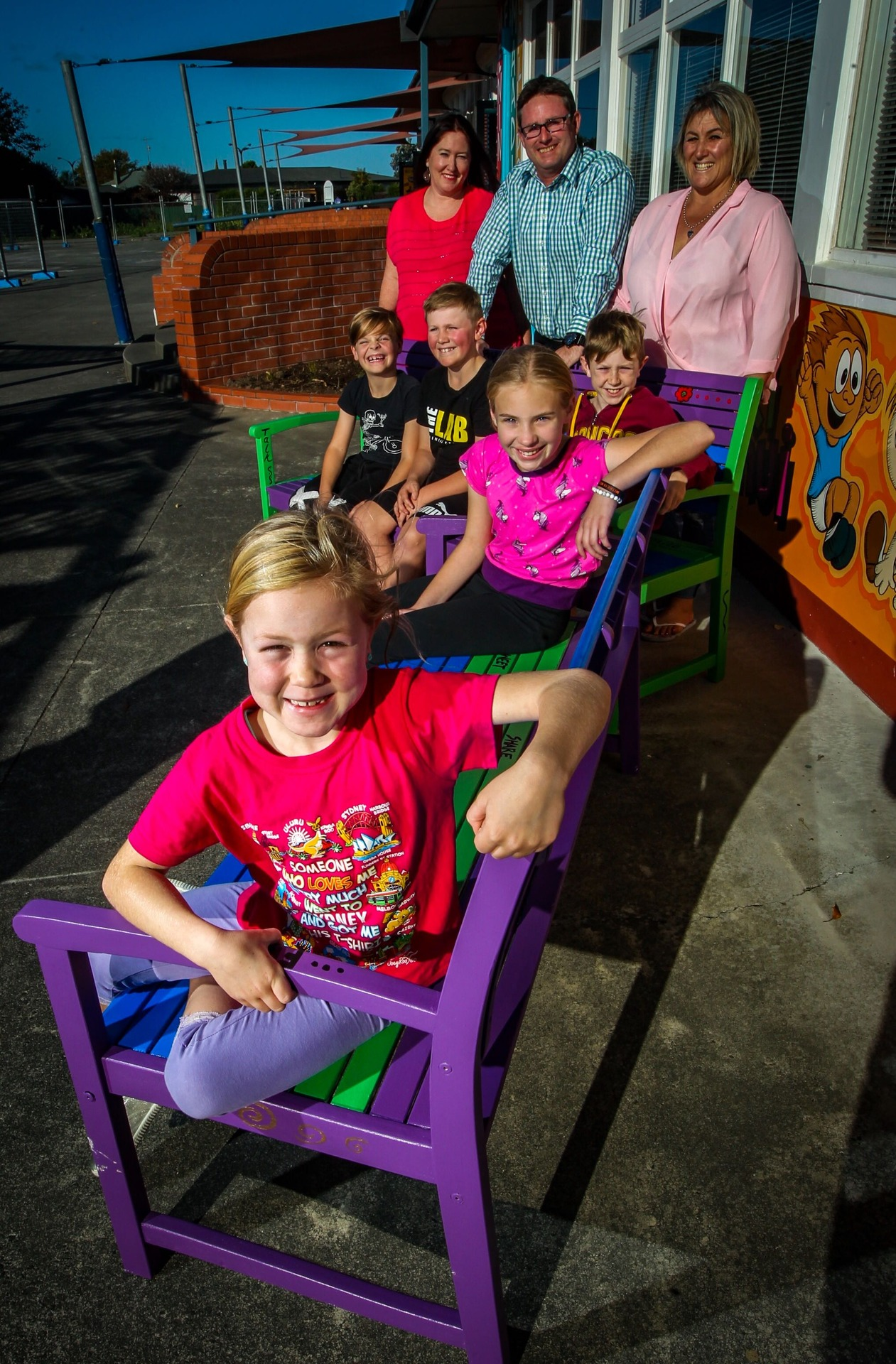 Napier primary school introduces buddy bench to combat loneliness and encourage friendship