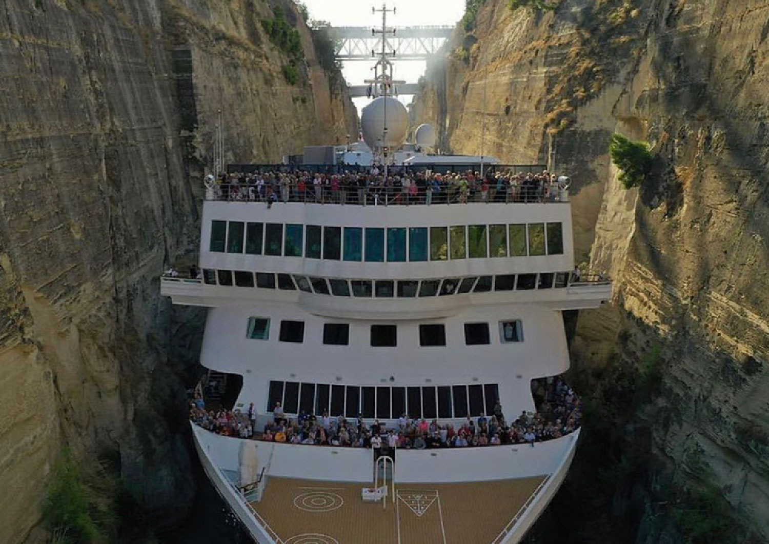 Watch: Cruise ship squeezes through Corinth canal