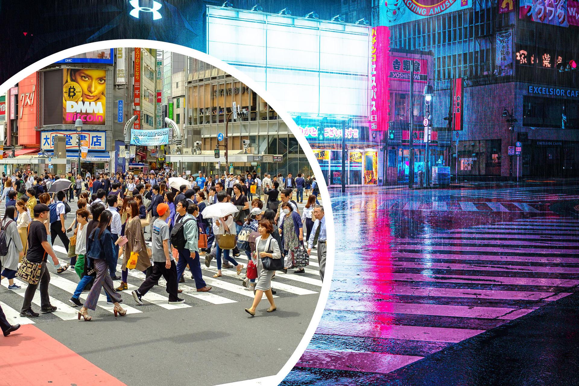 Tokyo's Shibuya crossing emptied in eerie photos