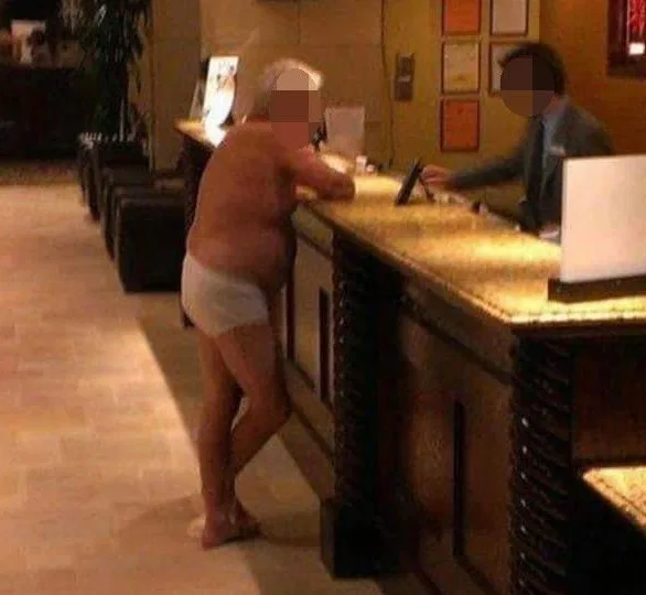 Captain underpants: Man caught in hotel reception only in his underwear