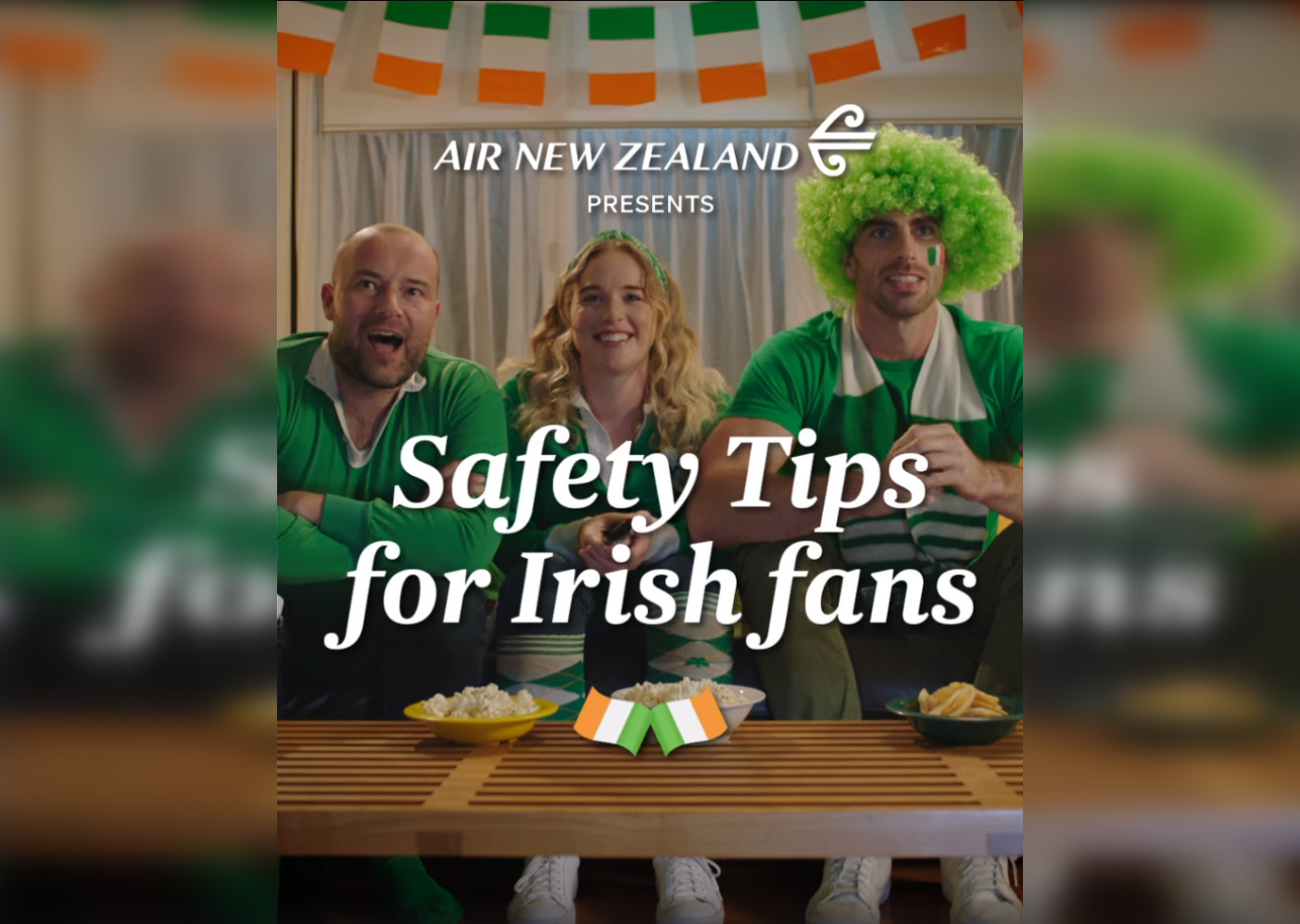 Air New Zealand's safety instructions for Ireland fans