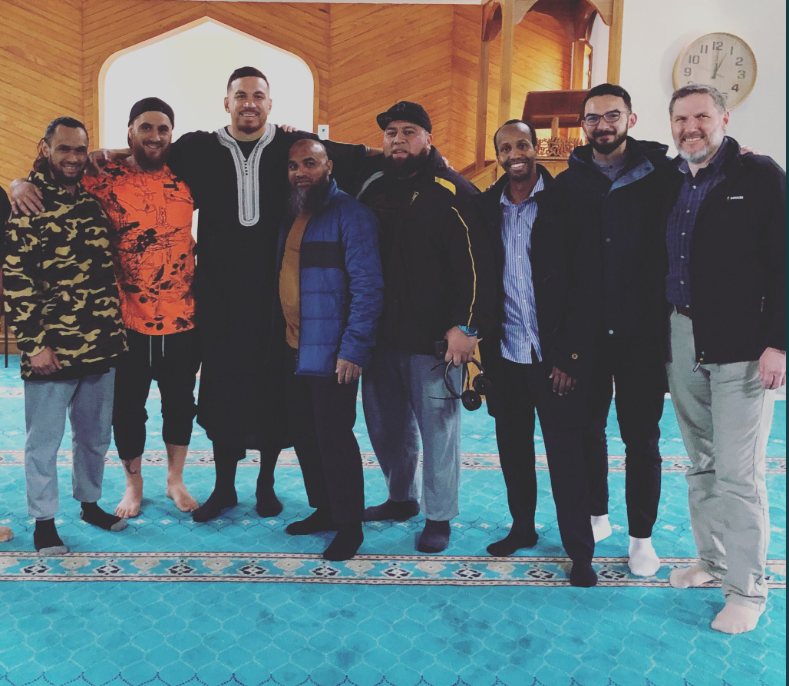 Sonny Bill Williams takes in prayer at Al Noor Mosque during Christchurch visit