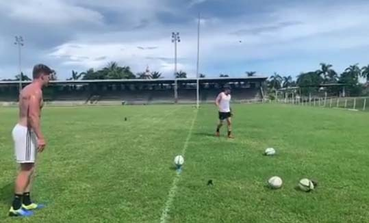 Rugby: All Blacks brothers Beauden and Jordie Barrett show off kicking skills in Fiji