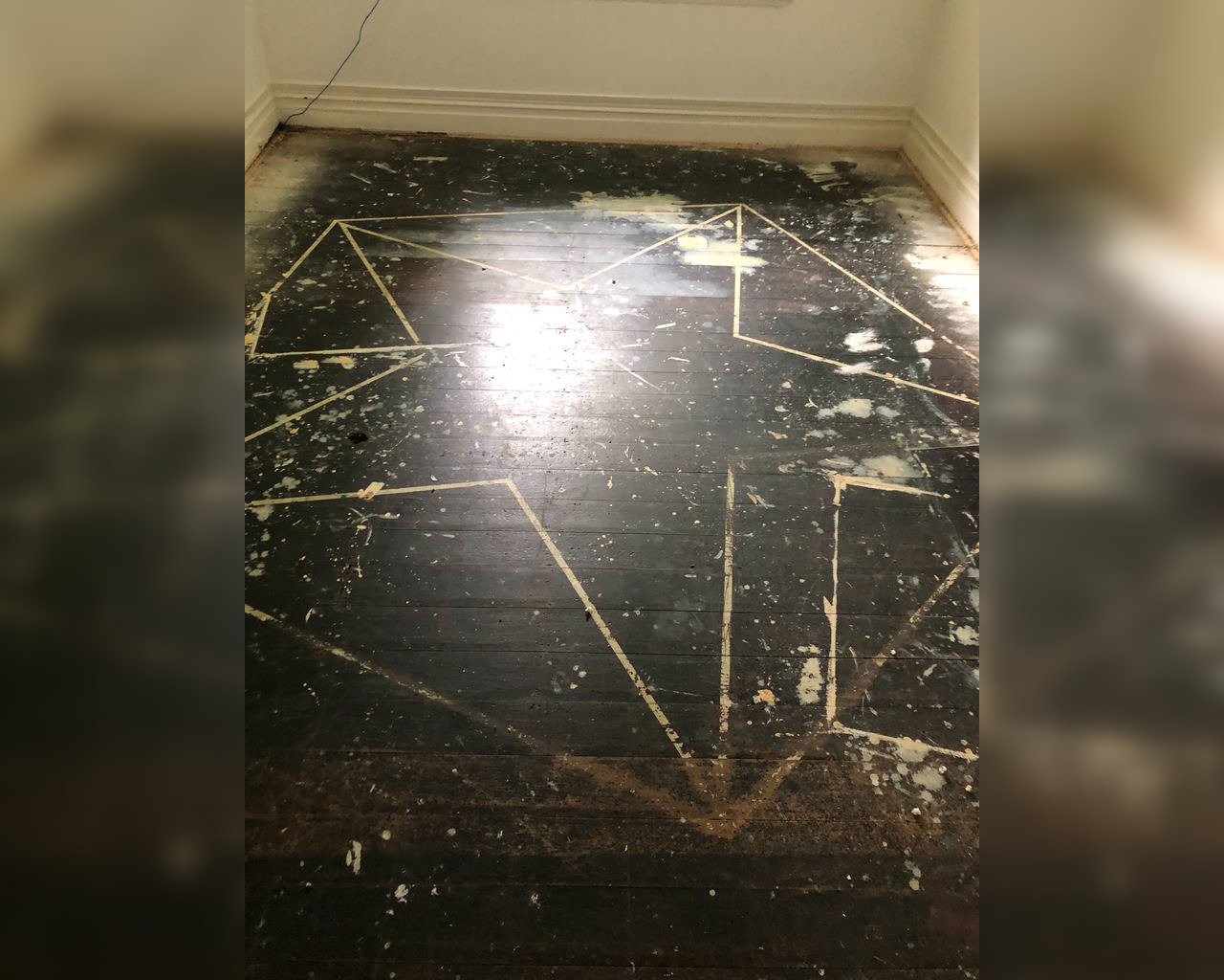 Pentagram, ritual circle discovered by couple for first time while recarpeting their home