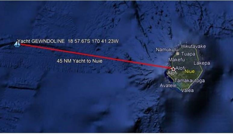 Two people rescued after their yacht sinks off Niue