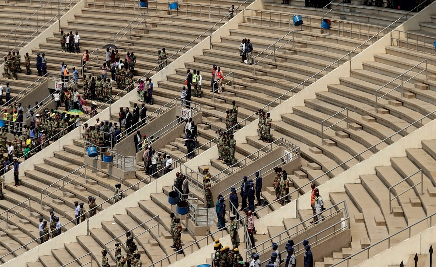 Robert Mugabe's state funeral at mostly empty stadium