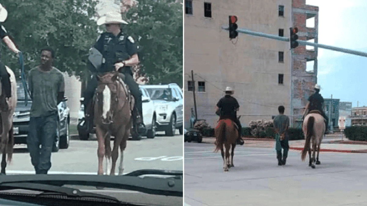 White officer leading black man by a rope admitted it looked 'bad'