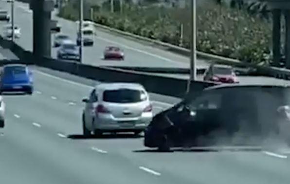 Shocking motorway crash captured on video