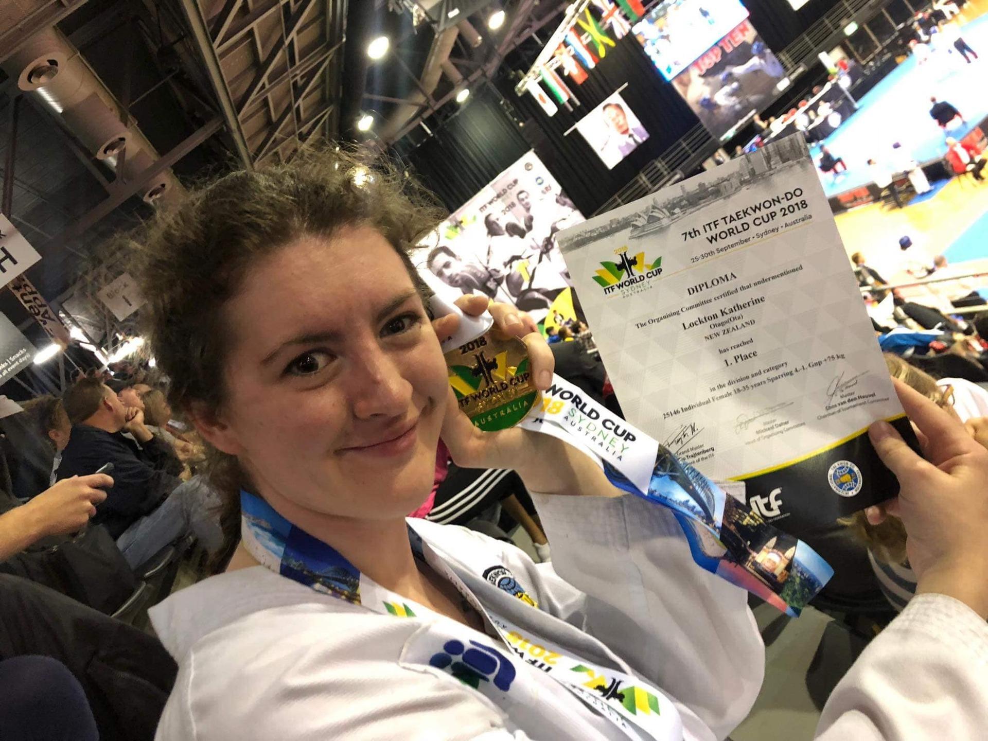 Whanganui's Katherine Lockton wins gold at Taekwon-do World Cup in Australia