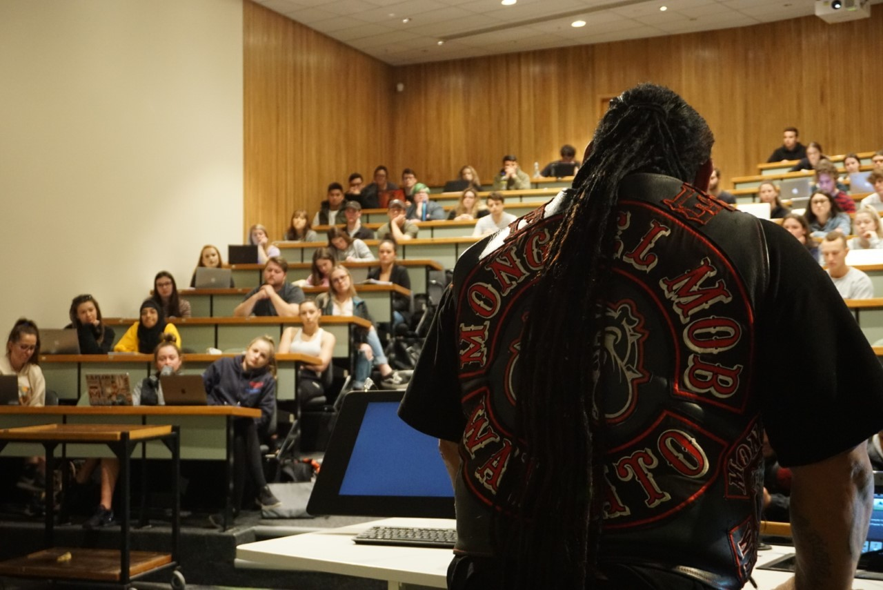 Senior Mongrel Mob members lecture Canterbury University criminal justice students