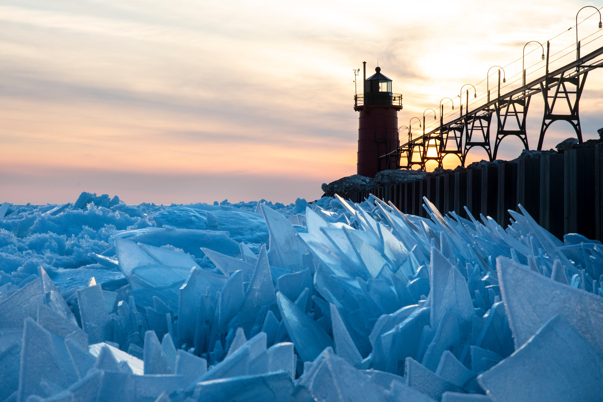 Incredible photos: Frozen lake Michigan shatters into stunning ice shards