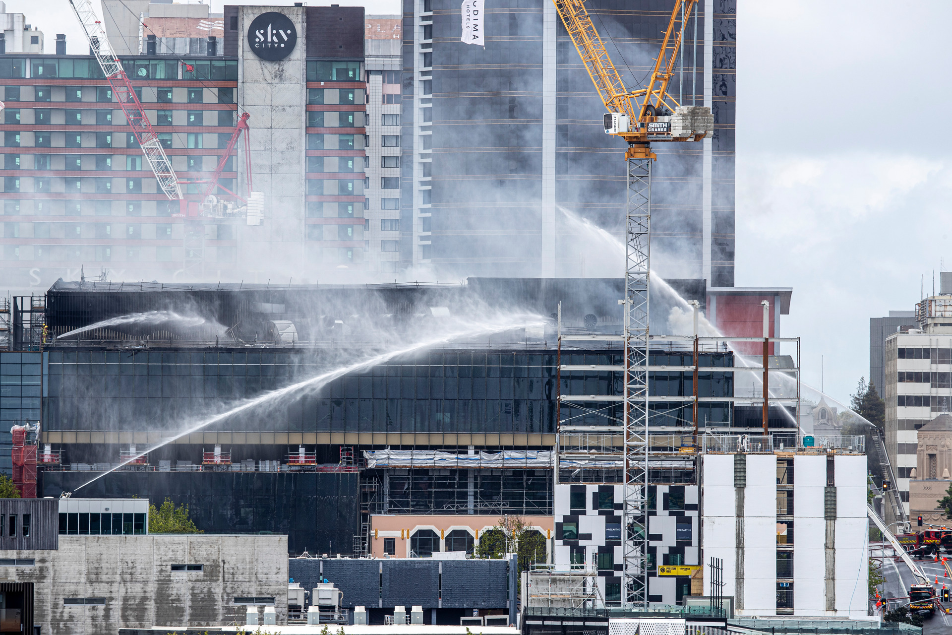 Live: Toxic tide of water from SkyCity fire enters harbour