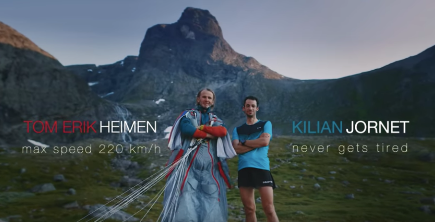 'Astoundingly terrifying': Insane footage shows mountain runner racing base jumper