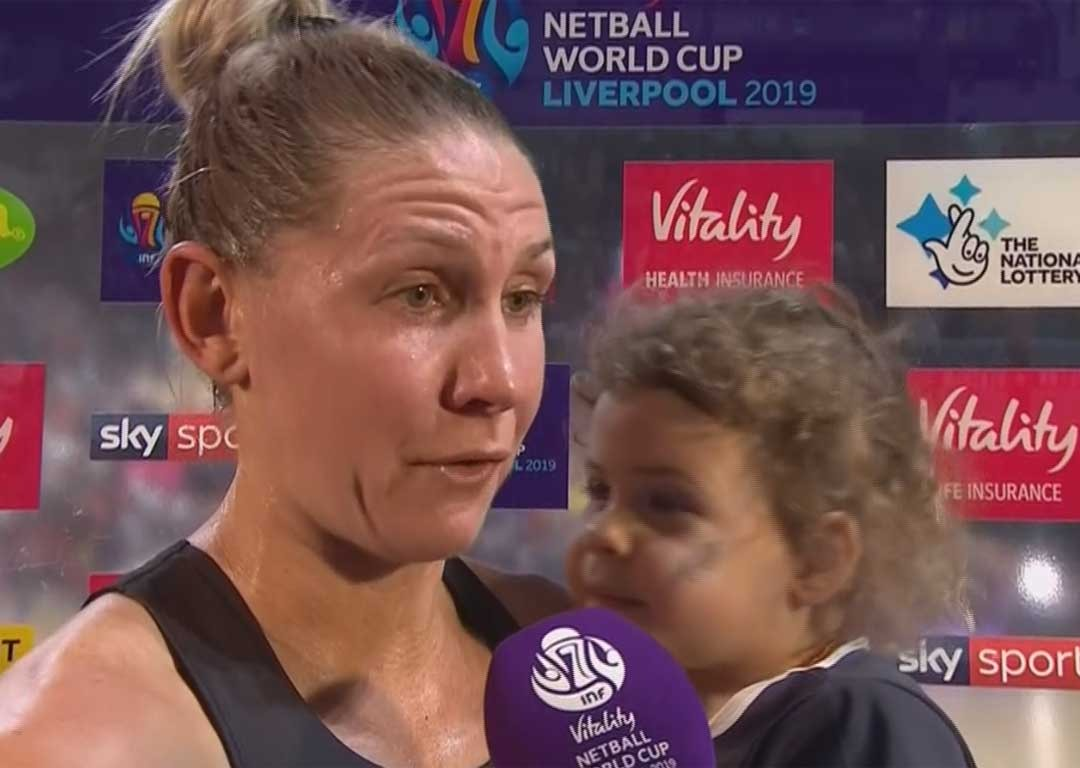 Silver Ferns toddler Maia Kopua steals the show at world championships victory party
