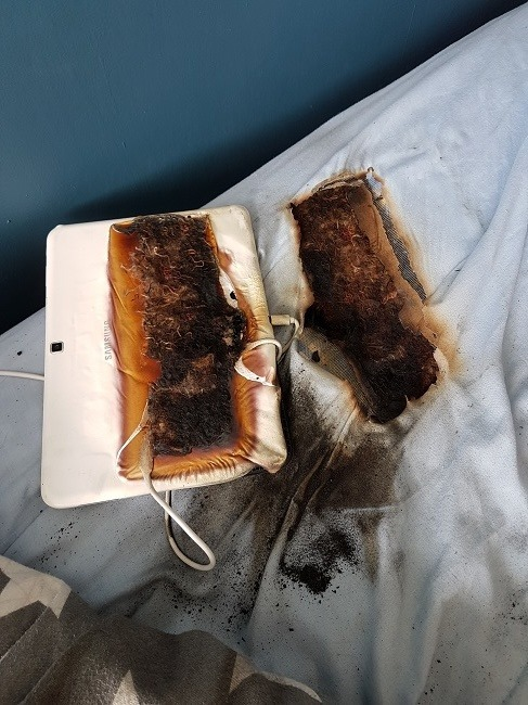 Boy, 11, lucky to be alive after charging tablet burns hole through his bed