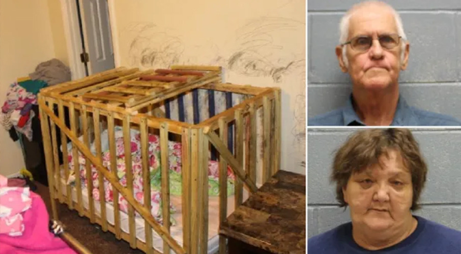Grandparents locked youngsters in wooden cages