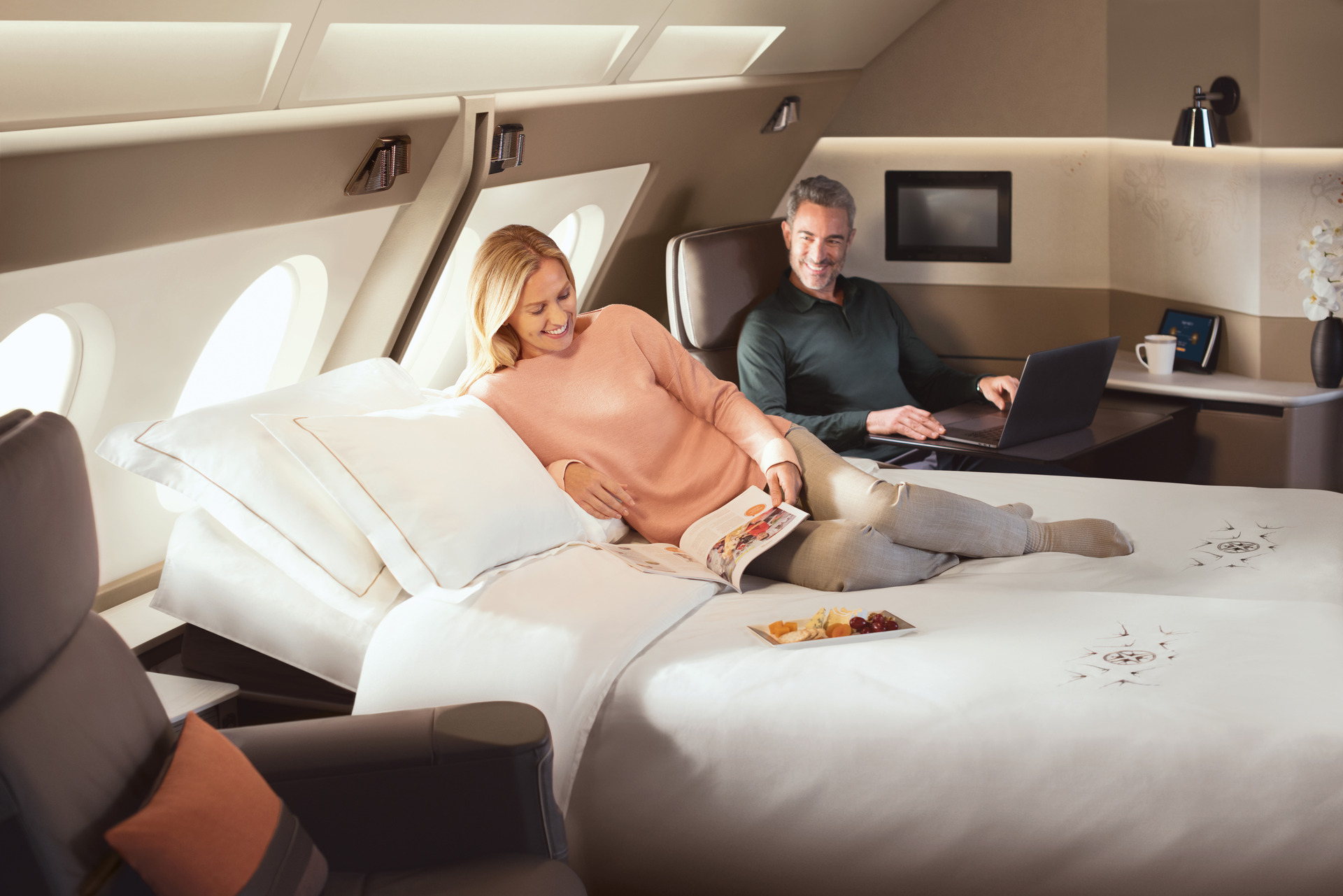 Hotel in the sky: Ritziest Singapore Airlines superjumbo flying to NZ.