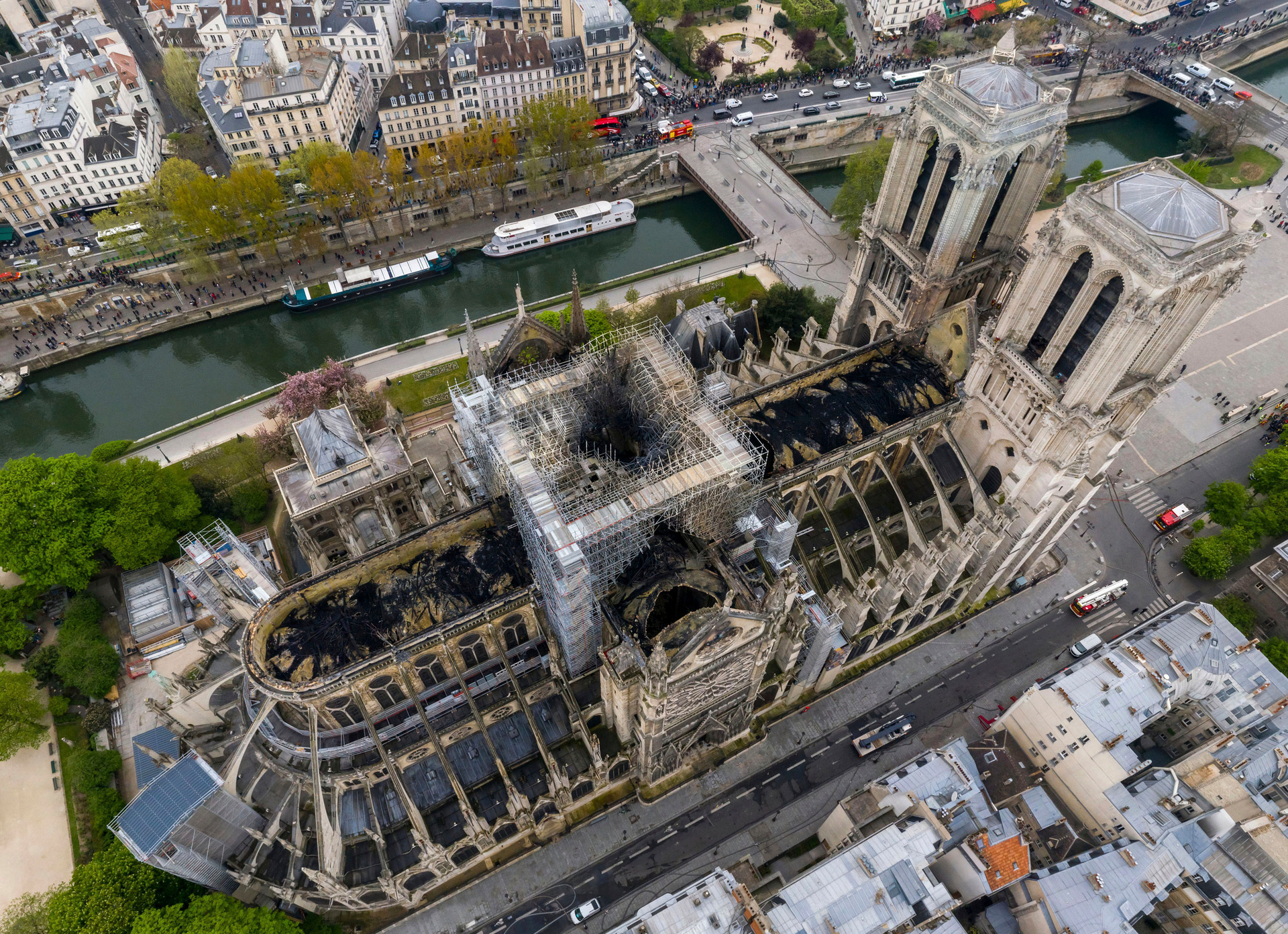 Drone-eye view: Notre Dame's destruction from above